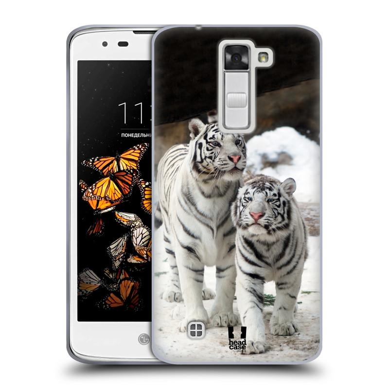 Silikonové pouzdro na mobil LG K8 HEAD CASE BÍLÍ TYGŘI (Silikonový kryt či obal na mobilní telefon LG K8 K350)