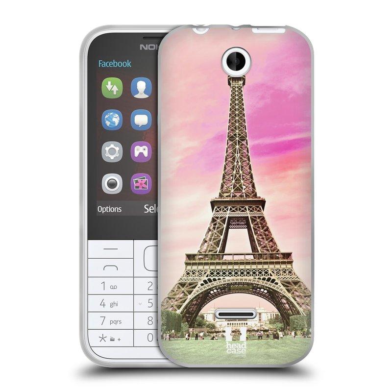 Silikonové pouzdro na mobil Nokia 225 HEAD CASE RŮŽOVÁ AIFELOVKA (Silikonový kryt či obal na mobilní telefon Nokia 225)