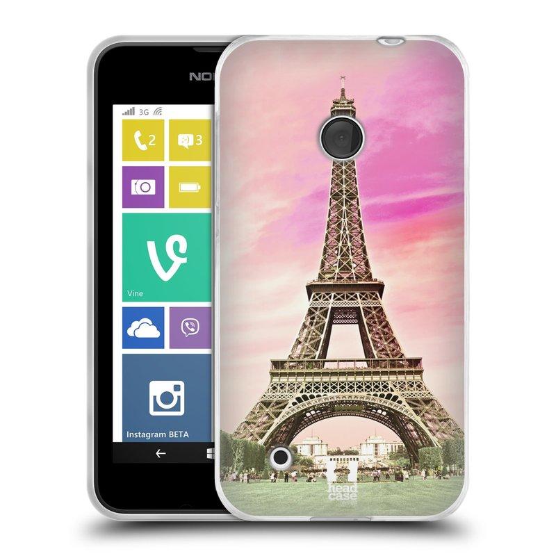 Silikonové pouzdro na mobil Nokia Lumia 530 HEAD CASE RŮŽOVÁ AIFELOVKA (Silikonový kryt či obal na mobilní telefon Nokia Lumia 530)