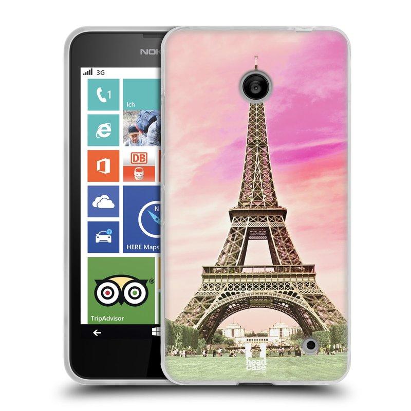 Silikonové pouzdro na mobil Nokia Lumia 630 HEAD CASE RŮŽOVÁ AIFELOVKA (Silikonový kryt či obal na mobilní telefon Nokia Lumia 630 a Nokia Lumia 630 Dual SIM)