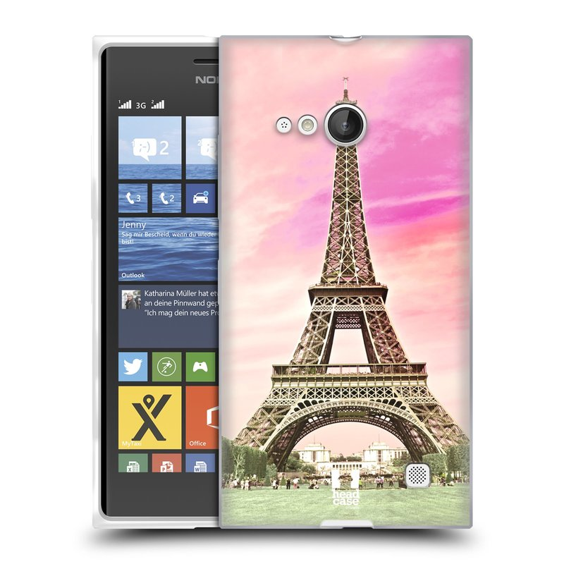Silikonové pouzdro na mobil Nokia Lumia 735 HEAD CASE RŮŽOVÁ AIFELOVKA (Silikonový kryt či obal na mobilní telefon Nokia Lumia 735)