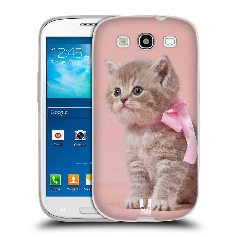 Silikonové pouzdro na mobil Samsung Galaxy S III HEAD CASE KOTĚ S MAŠLÍ (Silikonový kryt či obal na mobilní telefon Samsung Galaxy S III GT-i9300)