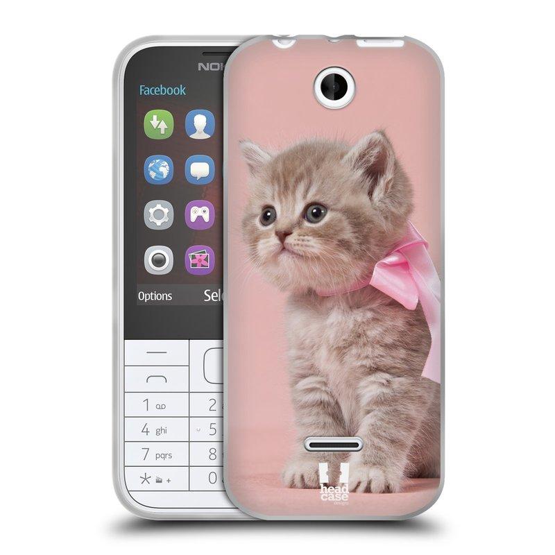 Silikonové pouzdro na mobil Nokia 225 HEAD CASE KOTĚ S MAŠLÍ (Silikonový kryt či obal na mobilní telefon Nokia 225)