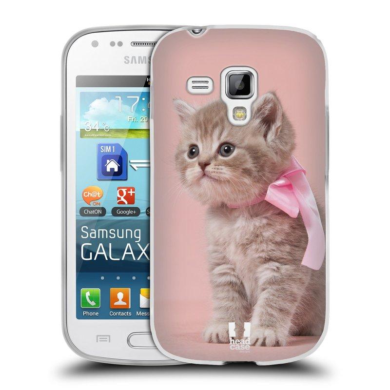 Silikonové pouzdro na mobil Samsung Galaxy S Duos HEAD CASE KOTĚ S MAŠLÍ (Silikonový kryt či obal na mobilní telefon Samsung Galaxy S Duos GT-S7562)