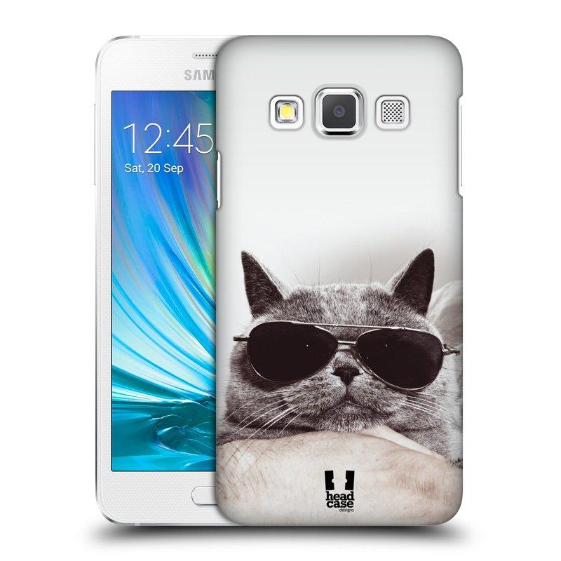 Plastové pouzdro na mobil Samsung Galaxy A3 HEAD CASE KOTĚ S BRÝLEMI (Kryt či obal na mobilní telefon Samsung Galaxy A3 SM-A300)