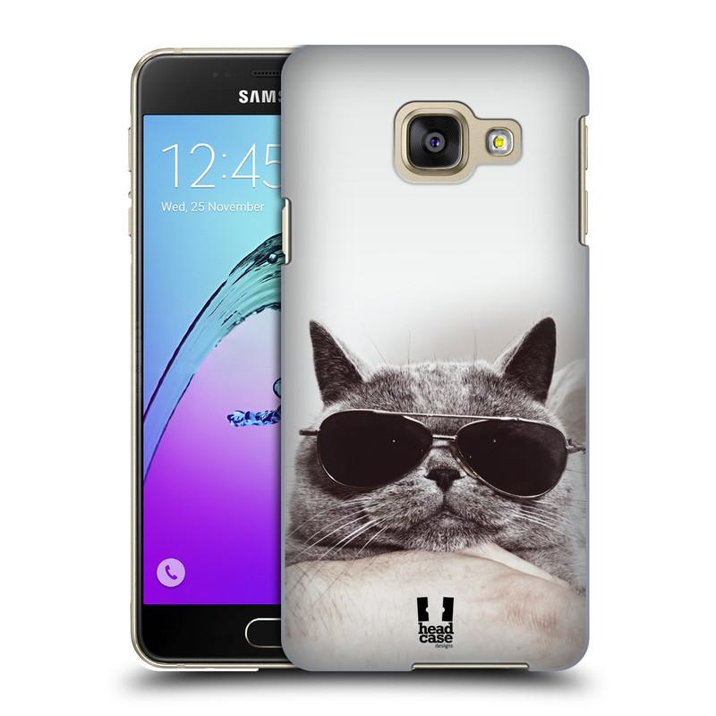 Plastové pouzdro na mobil Samsung Galaxy A3 (2016) HEAD CASE KOTĚ S BRÝLEMI (Kryt či obal na mobilní telefon Samsung Galaxy A3 (2016) SM-A310F)