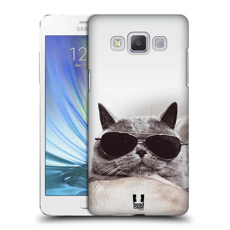 Plastové pouzdro na mobil Samsung Galaxy A5 HEAD CASE KOTĚ S BRÝLEMI (Kryt či obal na mobilní telefon Samsung Galaxy A5 SM-A500)