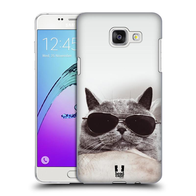Plastové pouzdro na mobil Samsung Galaxy A5 (2016) HEAD CASE KOTĚ S BRÝLEMI (Kryt či obal na mobilní telefon Samsung Galaxy A5 (2016) SM-A510F)