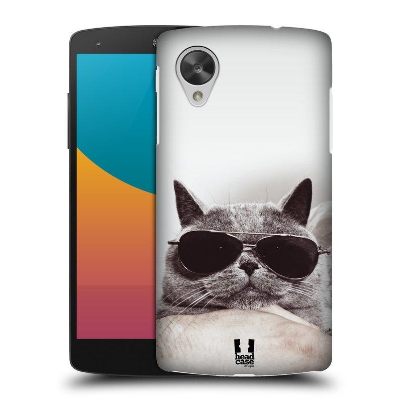Plastové pouzdro na mobil LG Nexus 5 HEAD CASE KOTĚ S BRÝLEMI (Kryt či obal na mobilní telefon LG Google Nexus 5 D821)