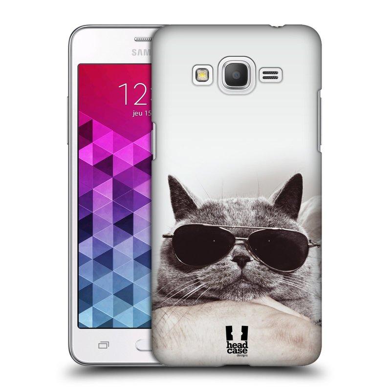 Plastové pouzdro na mobil Samsung Galaxy Grand Prime HEAD CASE KOTĚ S BRÝLEMI (Kryt či obal na mobilní telefon Samsung Galaxy Grand Prime SM-G530)