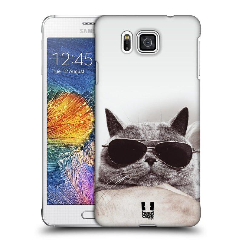 Plastové pouzdro na mobil Samsung Galaxy Alpha HEAD CASE KOTĚ S BRÝLEMI (Kryt či obal na mobilní telefon Samsung Galaxy Alpha SM-G850)