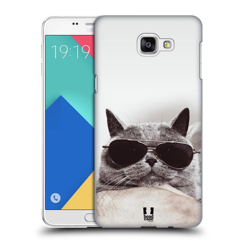 Plastové pouzdro na mobil Samsung Galaxy A9 HEAD CASE KOTĚ S BRÝLEMI (Kryt či obal na mobilní telefon Samsung Galaxy A9 (2016) SM-A900)