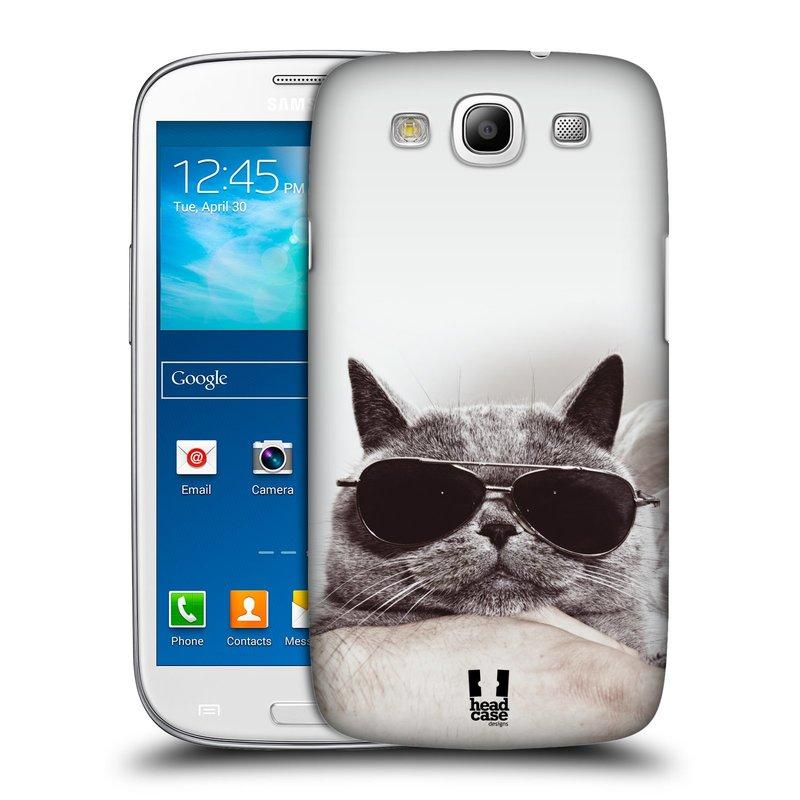 Plastové pouzdro na mobil Samsung Galaxy S III HEAD CASE KOTĚ S BRÝLEMI (Kryt či obal na mobilní telefon Samsung Galaxy S III GT-i9300)