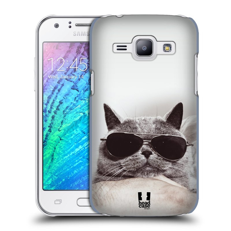Plastové pouzdro na mobil Samsung Galaxy J1 HEAD CASE KOTĚ S BRÝLEMI (Kryt či obal na mobilní telefon Samsung Galaxy J1 a J1 Duos )