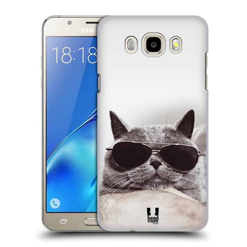 Plastové pouzdro na mobil Samsung Galaxy J5 (2016) HEAD CASE KOTĚ S BRÝLEMI (Plastový kryt či obal na mobilní telefon Samsung Galaxy J5 (2016) SM-J510)