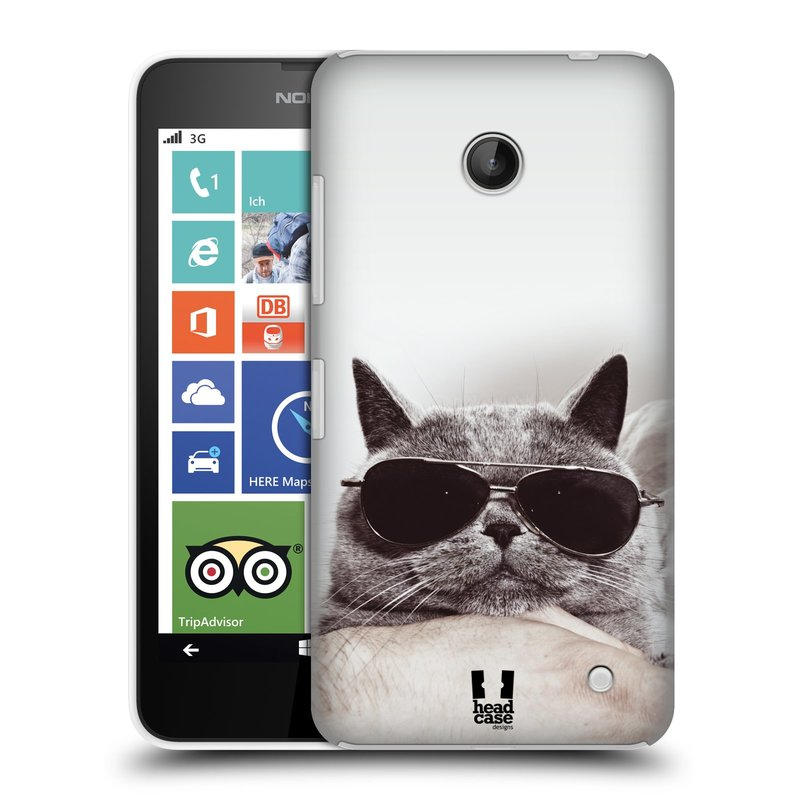 Plastové pouzdro na mobil Nokia Lumia 630 HEAD CASE KOTĚ S BRÝLEMI (Kryt či obal na mobilní telefon Nokia Lumia 630 a Nokia Lumia 630 Dual SIM)