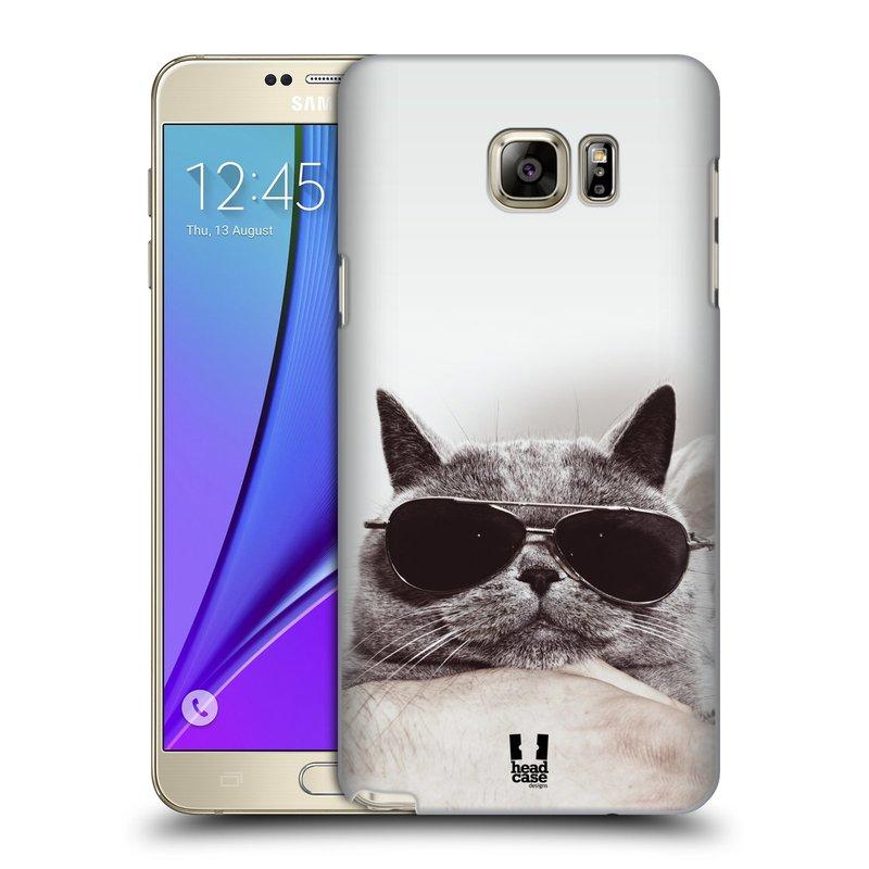 Plastové pouzdro na mobil Samsung Galaxy Note 5 HEAD CASE KOTĚ S BRÝLEMI (Kryt či obal na mobilní telefon Samsung Galaxy Note 5 SM-N920)