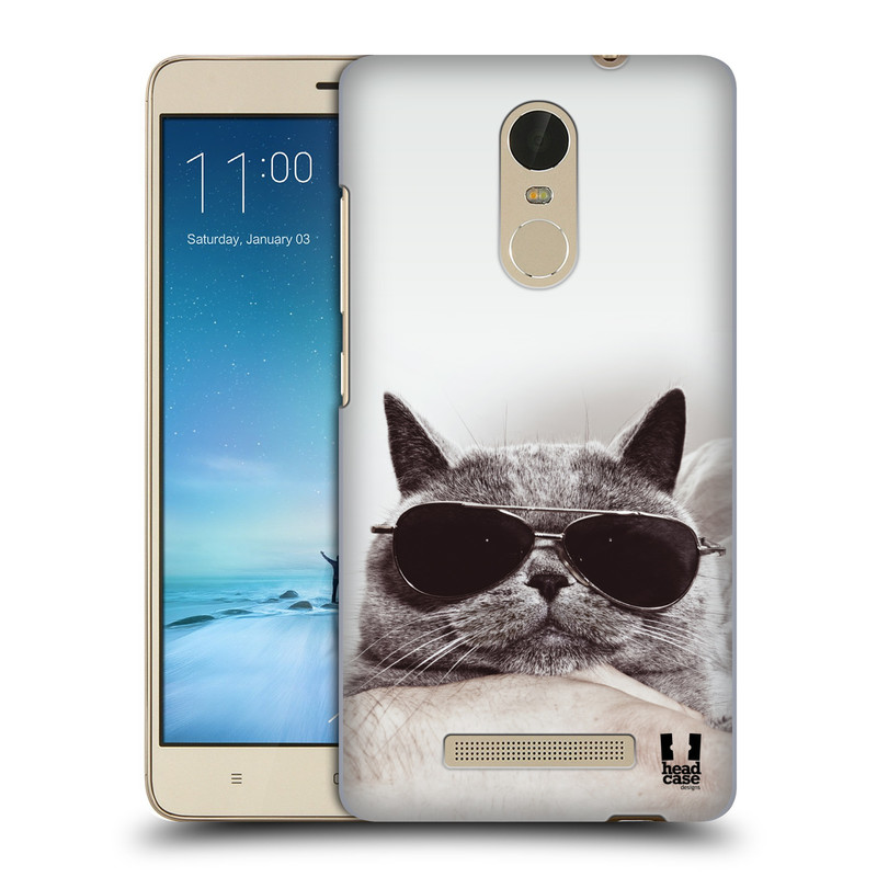 """Plastové pouzdro na mobil Xiaomi Redmi Note 3 HEAD CASE KOTĚ S BRÝLEMI (Kryt či obal na mobilní telefon Xiaomi Redmi Note 3 s 5,5"""" displejem)"""
