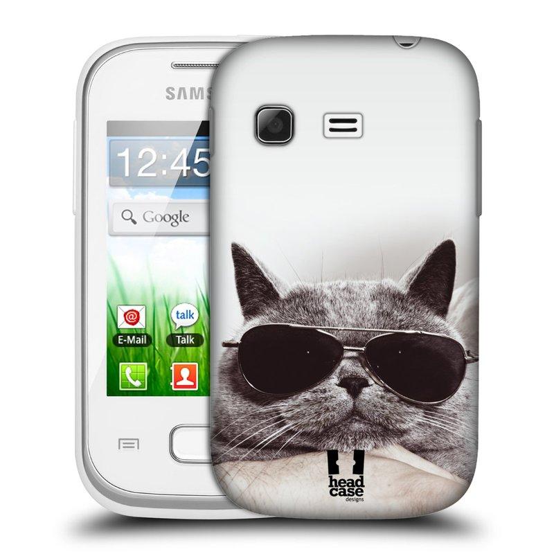 Plastové pouzdro na mobil Samsung Galaxy Pocket HEAD CASE KOTĚ S BRÝLEMI (Kryt či obal na mobilní telefon Samsung Galaxy Pocket GT-S5300)