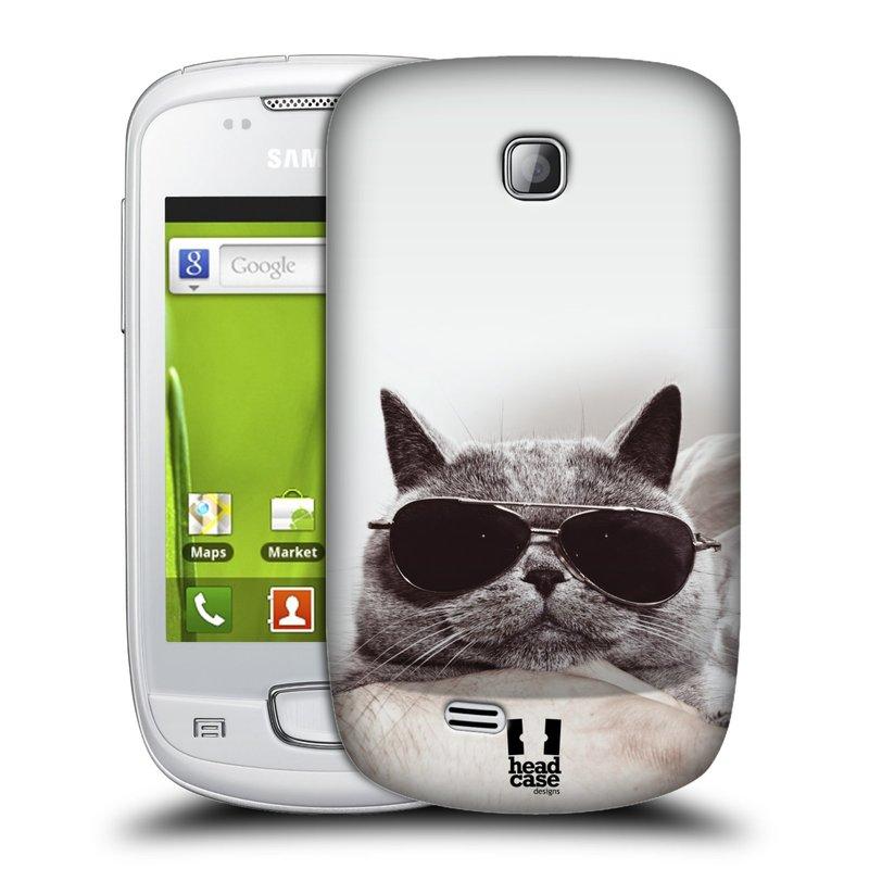 Plastové pouzdro na mobil Samsung Galaxy Mini HEAD CASE KOTĚ S BRÝLEMI (Kryt či obal na mobilní telefon Samsung Galaxy Mini GT-S5570 / GT-S5570i)