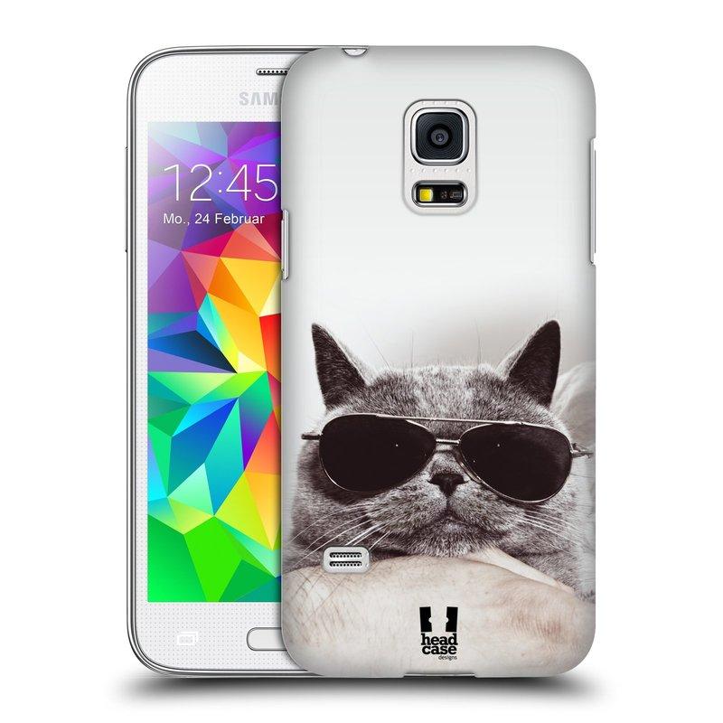 Plastové pouzdro na mobil Samsung Galaxy S5 Mini HEAD CASE KOTĚ S BRÝLEMI (Kryt či obal na mobilní telefon Samsung Galaxy S5 Mini SM-G800F)