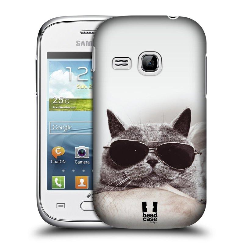 Plastové pouzdro na mobil Samsung Galaxy Young HEAD CASE KOTĚ S BRÝLEMI (Kryt či obal na mobilní telefon Samsung Galaxy Young GT-S6310)