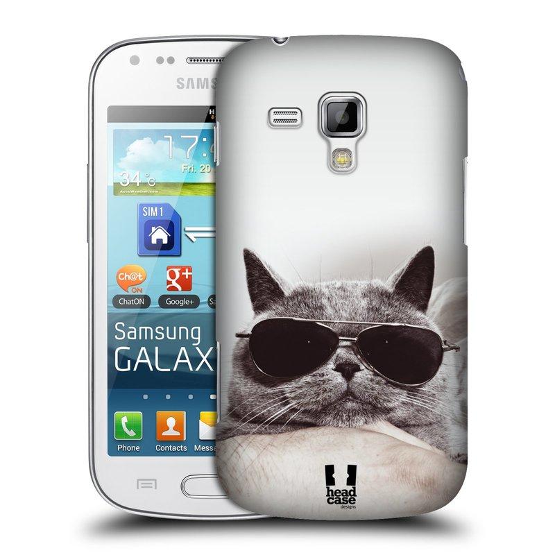 Plastové pouzdro na mobil Samsung Galaxy S Duos HEAD CASE KOTĚ S BRÝLEMI (Kryt či obal na mobilní telefon Samsung Galaxy S Duos GT-S7562)
