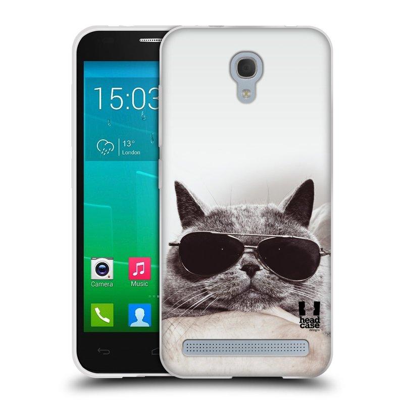 Silikonové pouzdro na mobil Alcatel One Touch Idol 2 Mini S 6036Y HEAD CASE KOTĚ S BRÝLEMI (Silikonový kryt či obal na mobilní telefon Alcatel Idol 2 Mini S OT-6036Y)