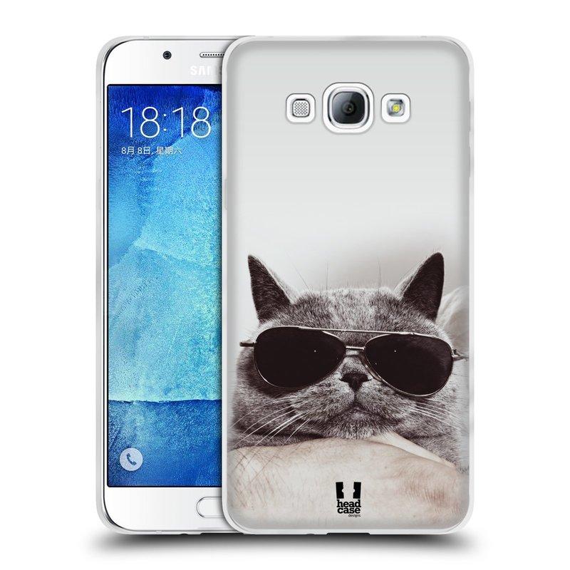 Silikonové pouzdro na mobil Samsung Galaxy A8 HEAD CASE KOTĚ S BRÝLEMI (Silikonový kryt či obal na mobilní telefon Samsung Galaxy A8 SM-A800)
