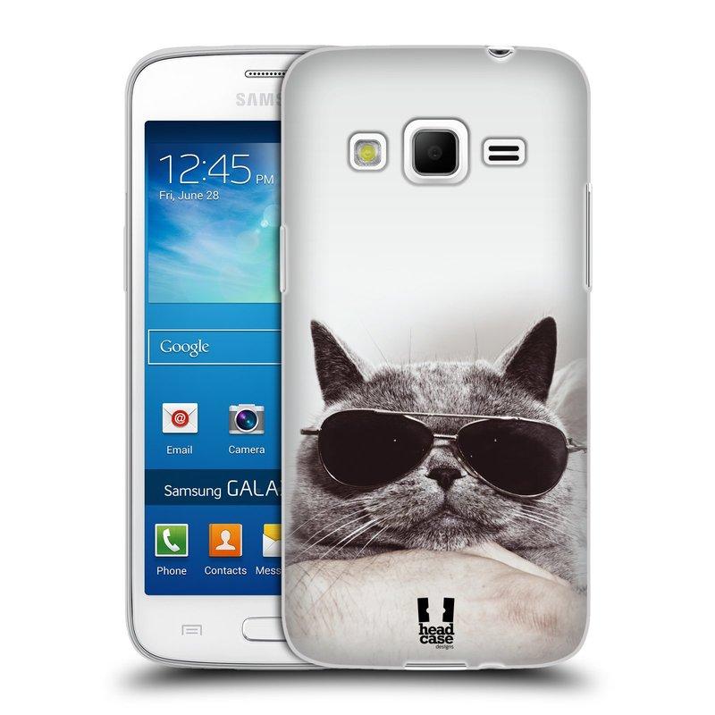 Silikonové pouzdro na mobil Samsung Galaxy Express 2 HEAD CASE KOTĚ S BRÝLEMI (Silikonový kryt či obal na mobilní telefon Samsung Galaxy Express 2 SM-G3815)