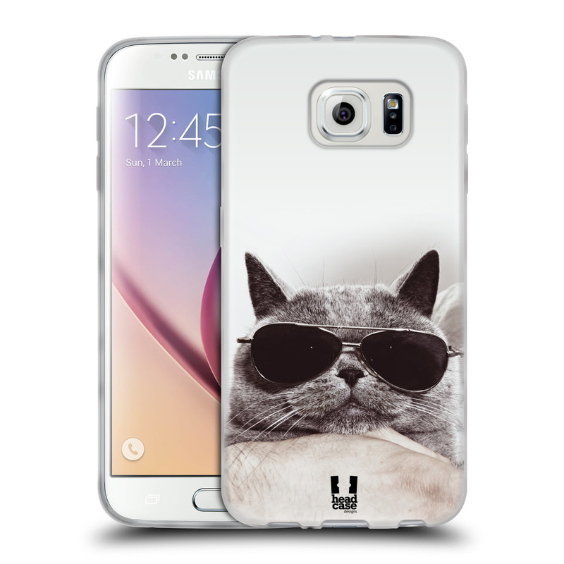 Silikonové pouzdro na mobil Samsung Galaxy S6 HEAD CASE KOTĚ S BRÝLEMI (Silikonový kryt či obal na mobilní telefon Samsung Galaxy S6 SM-G920F)