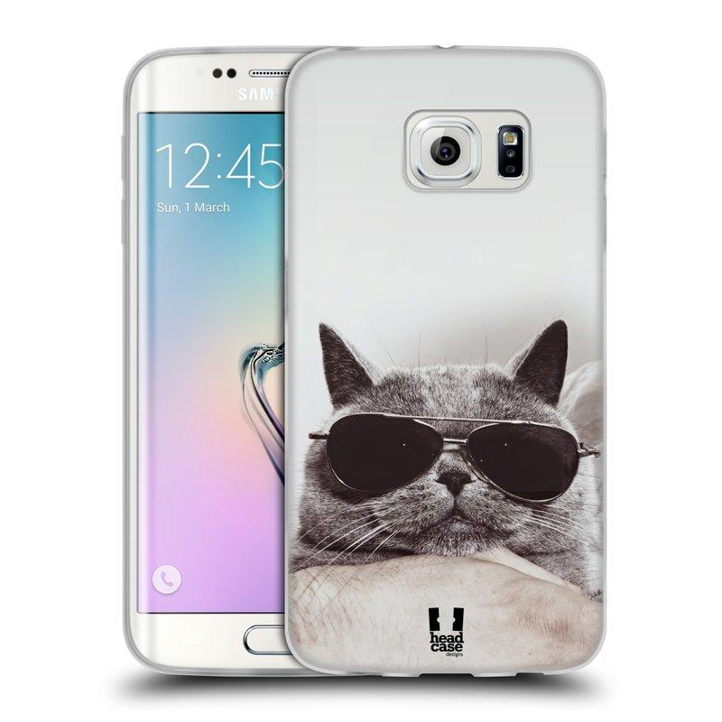 Silikonové pouzdro na mobil Samsung Galaxy S6 Edge HEAD CASE KOTĚ S BRÝLEMI (Silikonový kryt či obal na mobilní telefon Samsung Galaxy S6 Edge SM-G925F)