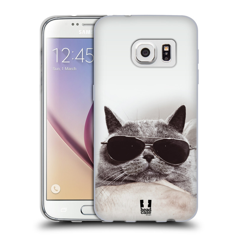 Silikonové pouzdro na mobil Samsung Galaxy S7 HEAD CASE KOTĚ S BRÝLEMI (Silikonový kryt či obal na mobilní telefon Samsung Galaxy S7 SM-G930F)