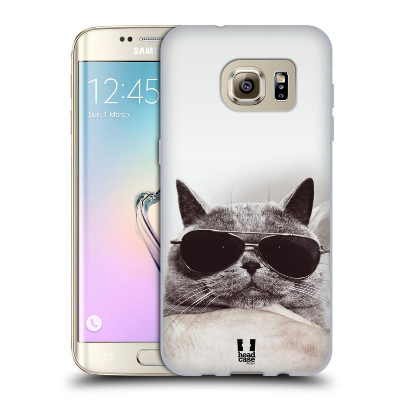 Silikonové pouzdro na mobil Samsung Galaxy S7 Edge HEAD CASE KOTĚ S BRÝLEMI (Silikonový kryt či obal na mobilní telefon Samsung Galaxy S7 Edge SM-G935F)