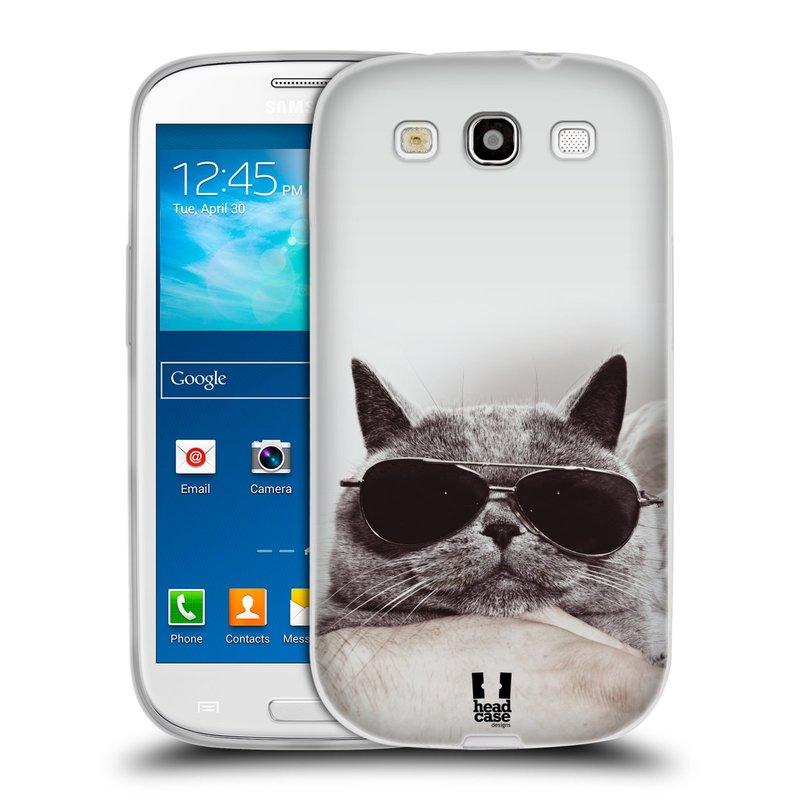 Silikonové pouzdro na mobil Samsung Galaxy S III HEAD CASE KOTĚ S BRÝLEMI (Silikonový kryt či obal na mobilní telefon Samsung Galaxy S III GT-i9300)