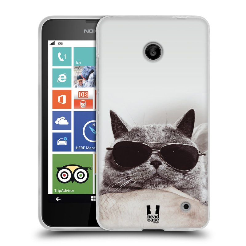 Silikonové pouzdro na mobil Nokia Lumia 630 HEAD CASE KOTĚ S BRÝLEMI (Silikonový kryt či obal na mobilní telefon Nokia Lumia 630 a Nokia Lumia 630 Dual SIM)