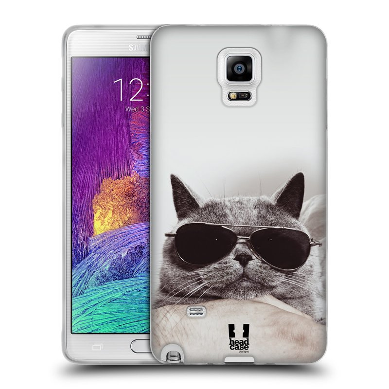 Silikonové pouzdro na mobil Samsung Galaxy Note 4 HEAD CASE KOTĚ S BRÝLEMI (Silikonový kryt či obal na mobilní telefon Samsung Galaxy Note 4 SM-N910F)