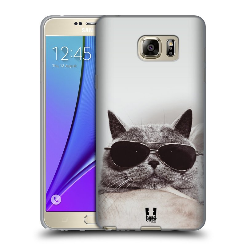Silikonové pouzdro na mobil Samsung Galaxy Note 5 HEAD CASE KOTĚ S BRÝLEMI (Silikonový kryt či obal na mobilní telefon Samsung Galaxy Note 5 SM-N920)