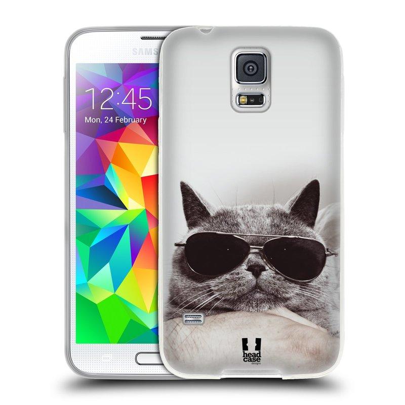 Silikonové pouzdro na mobil Samsung Galaxy S5 HEAD CASE KOTĚ S BRÝLEMI (Silikonový kryt či obal na mobilní telefon Samsung Galaxy S5 SM-G900F)