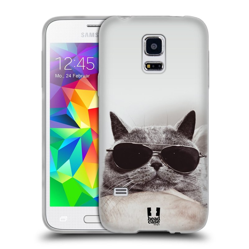 Silikonové pouzdro na mobil Samsung Galaxy S5 Mini HEAD CASE KOTĚ S BRÝLEMI (Silikonový kryt či obal na mobilní telefon Samsung Galaxy S5 Mini SM-G800F)