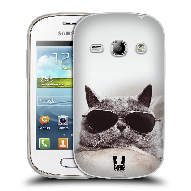 Silikonové pouzdro na mobil Samsung Galaxy Fame HEAD CASE KOTĚ S BRÝLEMI (Silikonový kryt či obal na mobilní telefon Samsung Galaxy Fame GT-S6810)