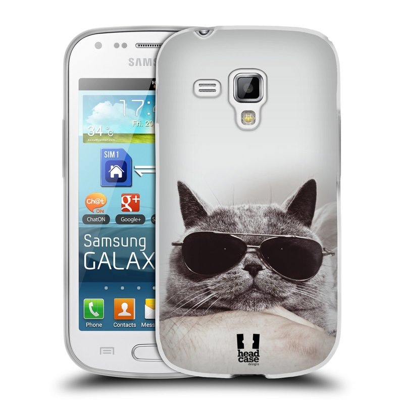 Silikonové pouzdro na mobil Samsung Galaxy S Duos HEAD CASE KOTĚ S BRÝLEMI (Silikonový kryt či obal na mobilní telefon Samsung Galaxy S Duos GT-S7562)