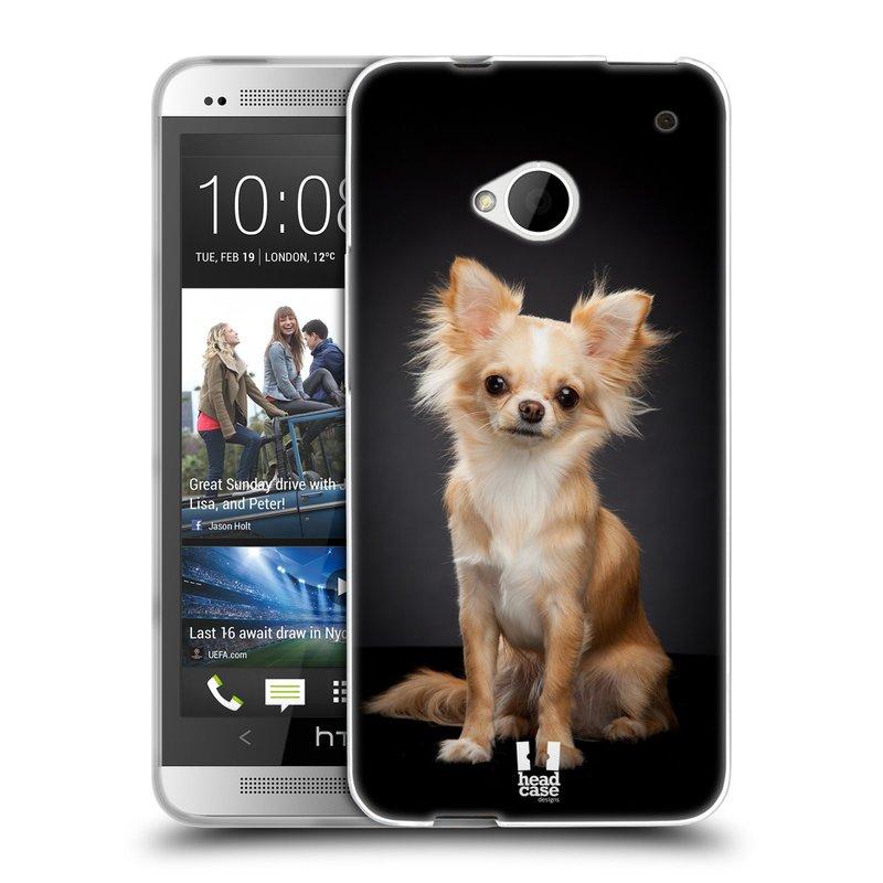 Silikonové pouzdro na mobil HTC ONE M7 HEAD CASE ČIVAVA (Silikonový kryt či obal na mobilní telefon HTC ONE M7)