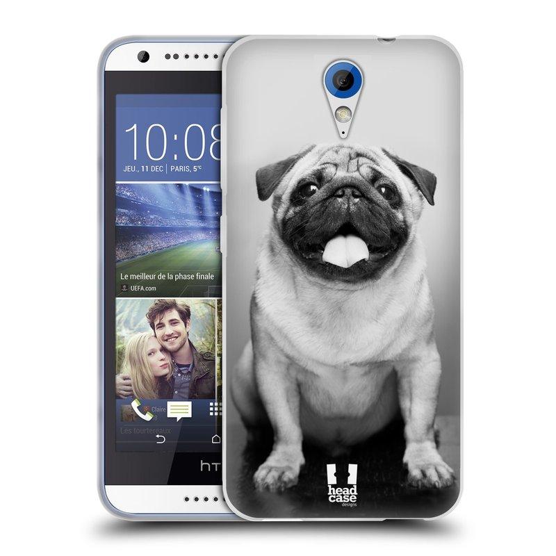Silikonové pouzdro na mobil HTC Desire 620 HEAD CASE MOPSÍK (Silikonový kryt či obal na mobilní telefon HTC Desire 620)