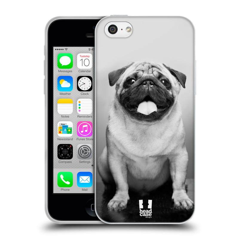 Silikonové pouzdro na mobil Apple iPhone 5C HEAD CASE MOPSÍK (Silikonový kryt či obal na mobilní telefon Apple iPhone 5C)