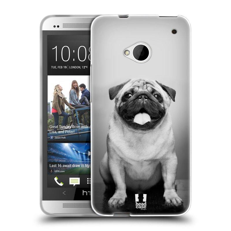 Silikonové pouzdro na mobil HTC ONE M7 HEAD CASE MOPSÍK (Silikonový kryt či obal na mobilní telefon HTC ONE M7)