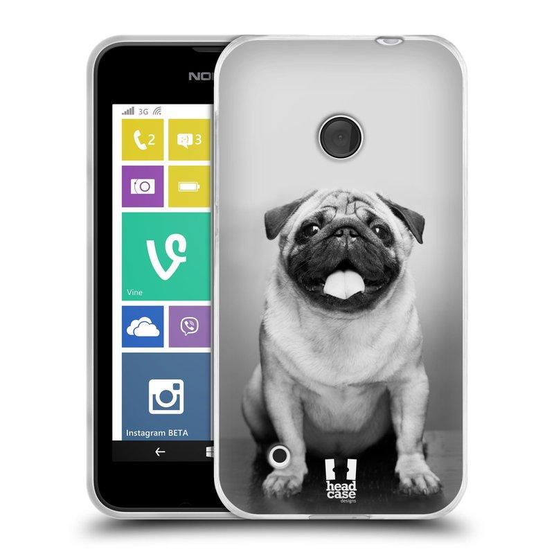 Silikonové pouzdro na mobil Nokia Lumia 530 HEAD CASE MOPSÍK (Silikonový kryt či obal na mobilní telefon Nokia Lumia 530)