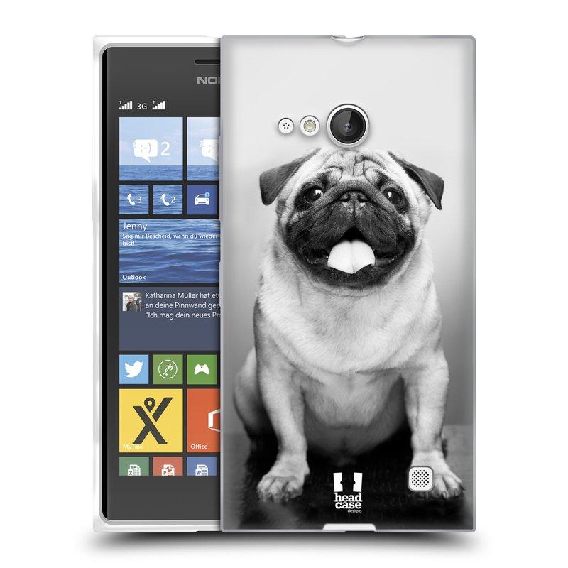 Silikonové pouzdro na mobil Nokia Lumia 735 HEAD CASE MOPSÍK (Silikonový kryt či obal na mobilní telefon Nokia Lumia 735)