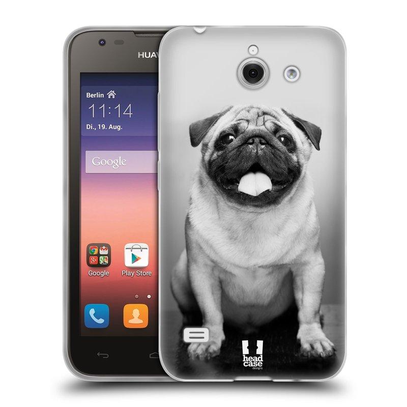 Silikonové pouzdro na mobil Huawei Ascend Y550 HEAD CASE MOPSÍK (Silikonový kryt či obal na mobilní telefon Huawei Ascend Y550)