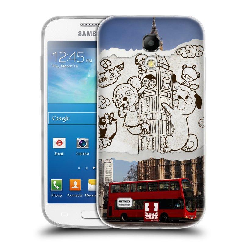 Silikonové pouzdro na mobil Samsung Galaxy S4 Mini VE HEAD CASE DOODLE TRIP LONDÝN (Silikonový kryt či obal na mobilní telefon Samsung Galaxy S4 Mini VE GT-i9195i (nepasuje na verzi Black Edition))